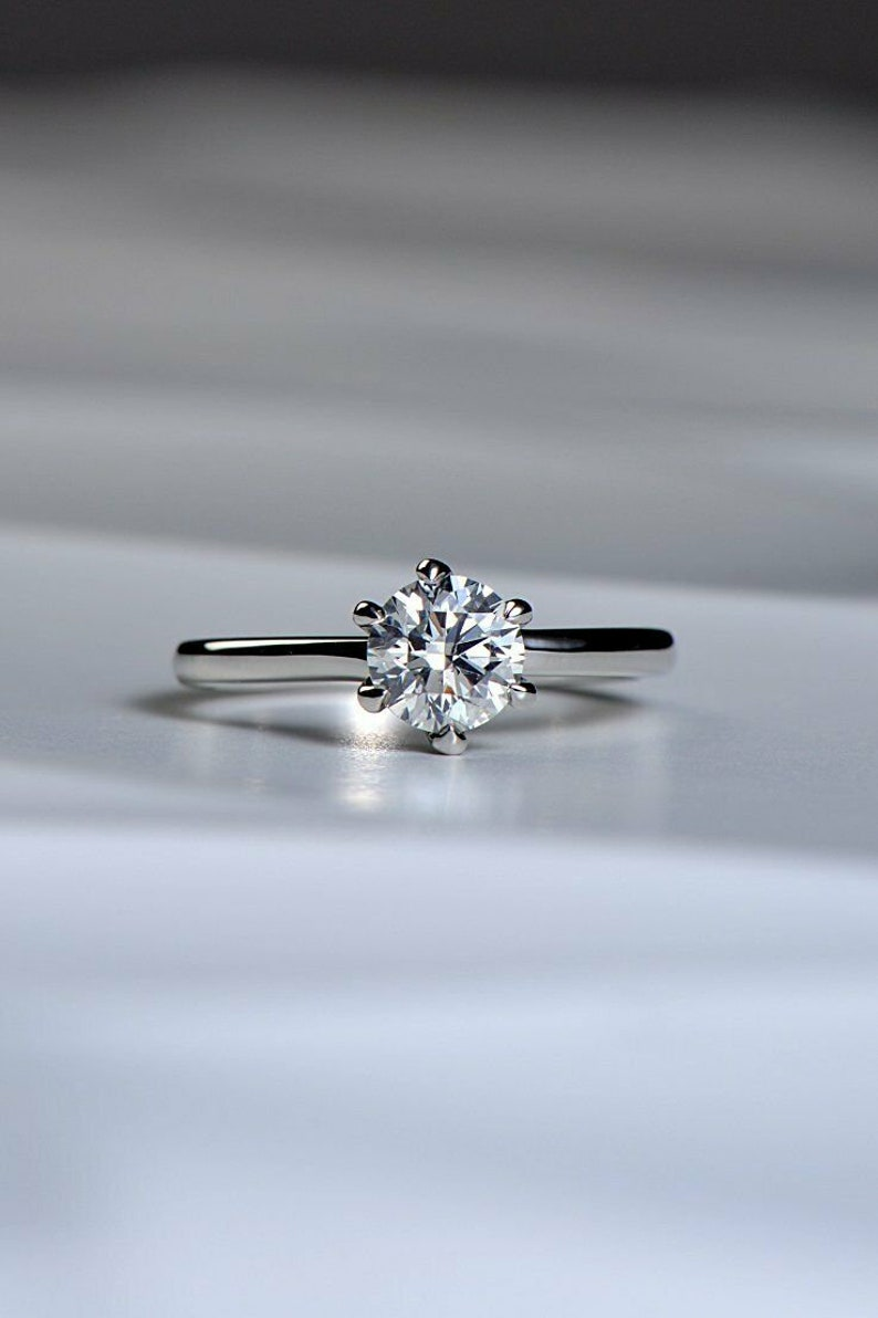 14ct White Gold Over Diamond Solitaire Ring Engagement 1 ct k Carat