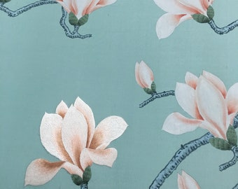 "SALES IN STOCK Chinoiserie handpainted wallpaper with partial embroidery in duckegg blue silk panel size 72"" x 45"""