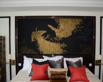 Chinoiserie Handpainting In Champagne Gold Metallic Leaf Etsy
