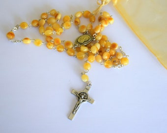 Butterscotch amber Christian rosary, Catholic rosary beads, yellow amber rosary, relgious gift