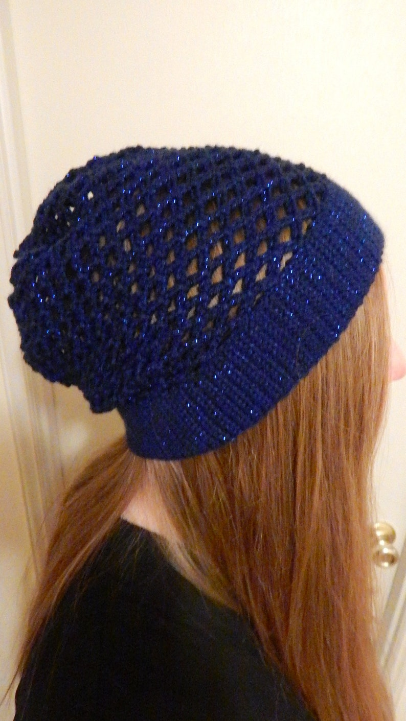 Blue Fishnet Beanie