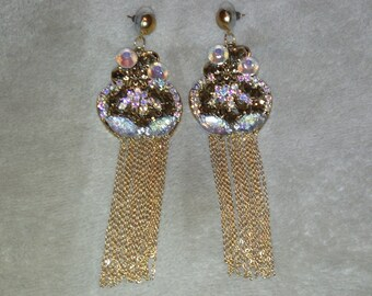 Big Earring made with Rhinestone and Golden Chains