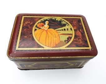French vintage TIN BOX old Art Deco illustrated Lady yellow gown flowers fountain