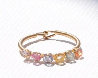 September Birthstone Natural Sapphire Rings Rainbow Sapphire Ring Pink Sapphire Ring, Stackable Birthstone Rings, Rainbow Sapphire Rings.