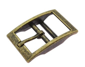 Double web buckle, double bar buckle, 25 mm, 20 mm, 16 mm, old brass, 1 - 5 pieces