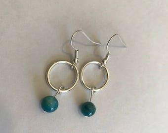 Teal dangle hoop earrings