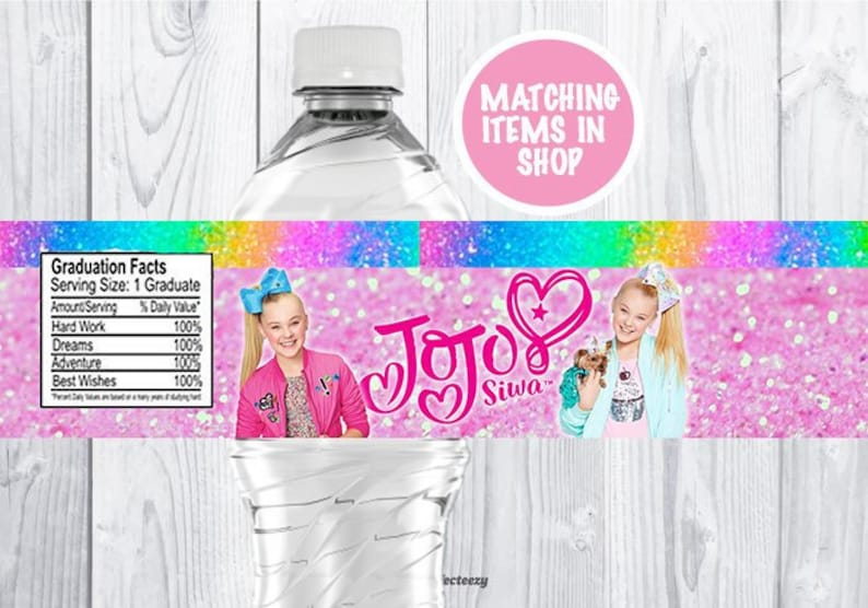 8b359f210b Jojo Siwa Bottle Label Instant Download Jojo Siwa Party   Etsy