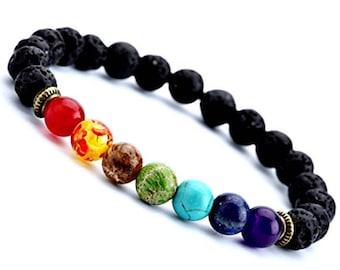 7 Chakra bracelet, Chakra jewelry, Yoga bracelet, Boho bracelet, Gemstone therapy, Lava stone bracelet, Energy bracelet, Lava rock bracelet