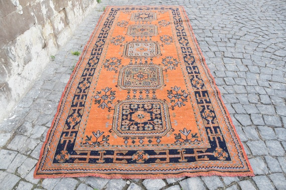 Runner Rug Hallway Rug Orange Rug Black Rug Handmade Rug Turkish Rug Oushak Rug Wool Rugs 4 8x9 Feet Designer Rug 1625