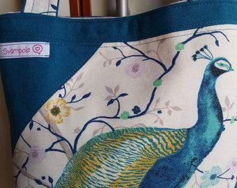 Cotton Bag with peacock print
