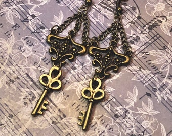 Steampunk Jewelry, Key Earrings