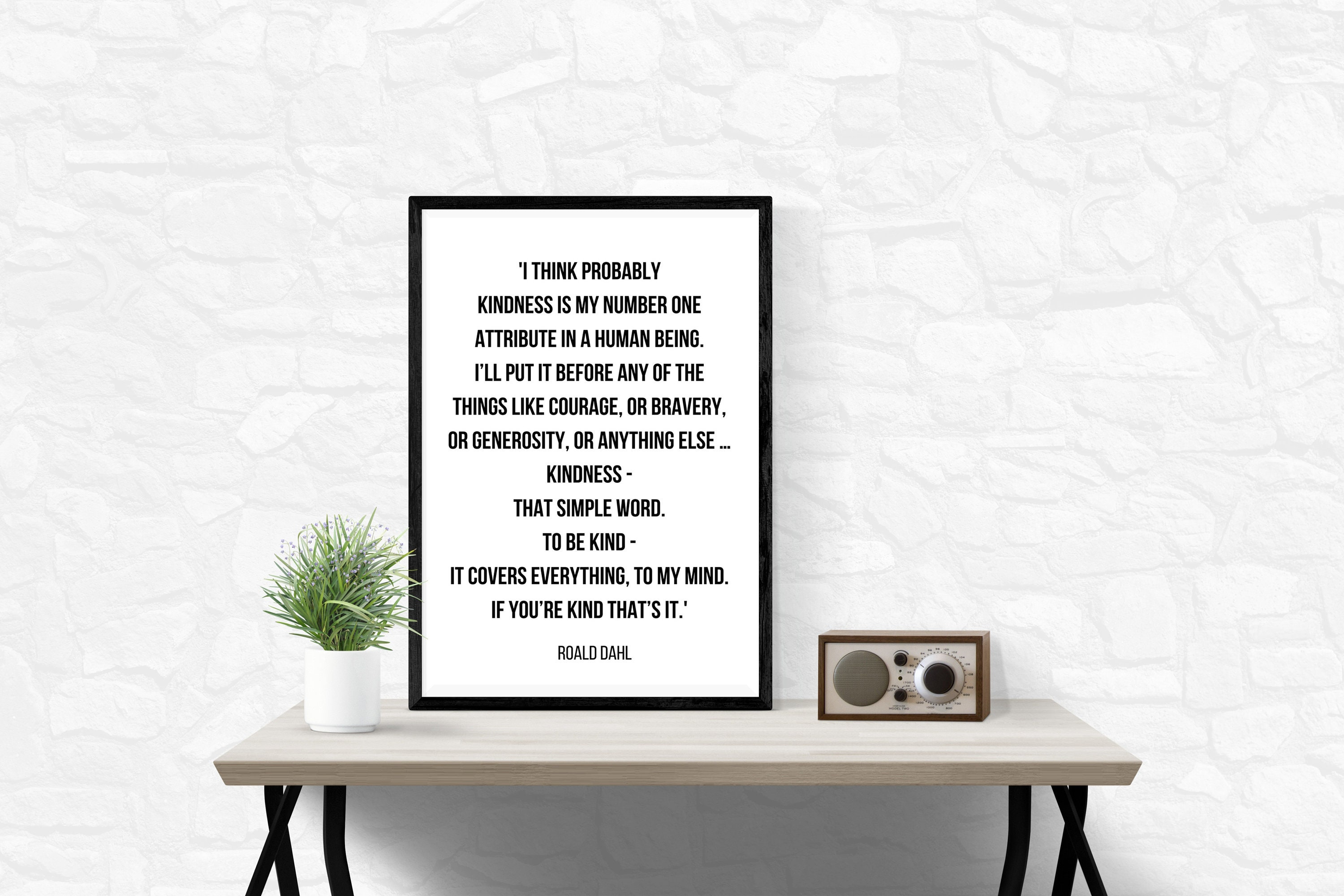 Printable Inspirational Kindness Quote By Roald Dahl Etsy