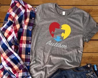 315d2fc4d Autism Awareness Autism shirt Puzzle heart Autism Dad Autism mom Autism Son  Autism Daughter Autistic nephew Autistic niece