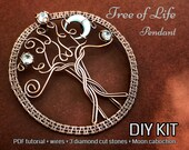 FULL KIT Tree of Life pendant,wire wrap, weaving tutorial, diy jewelry making set, PDF file, wrapping, pattern, step by step, craft hobby