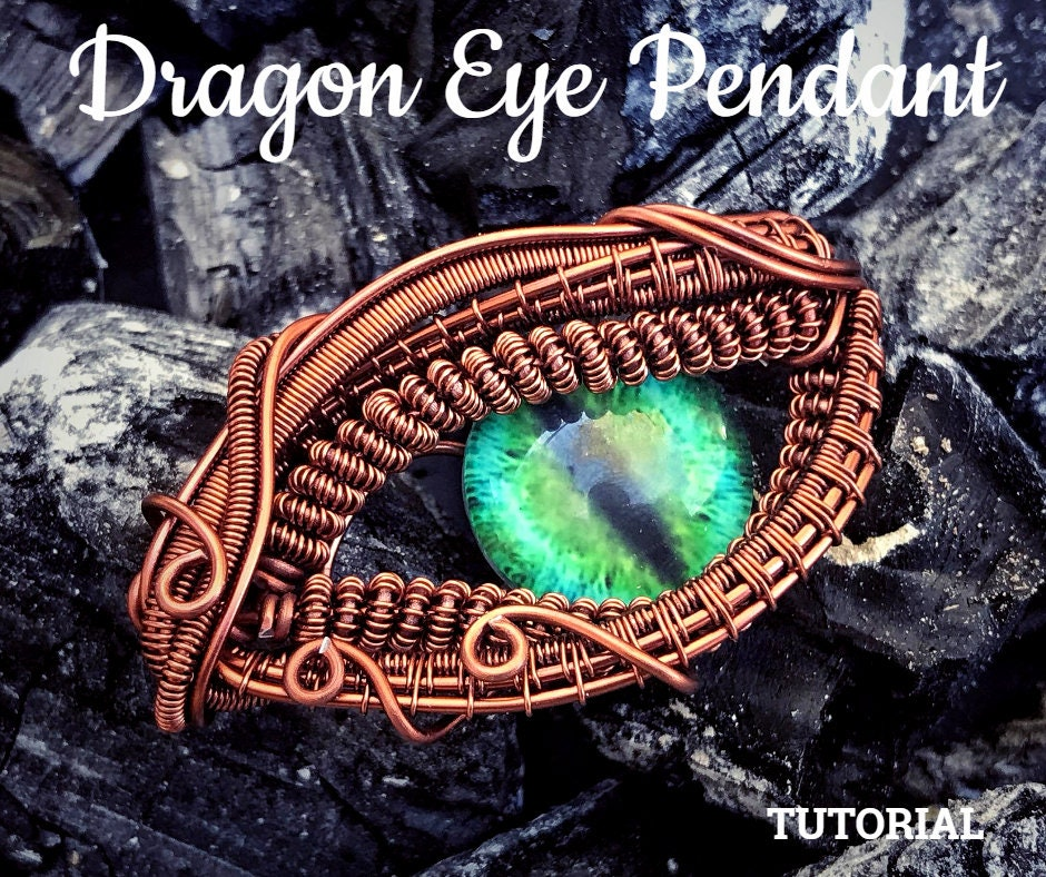 Tutorial Dragon Eye Pendant Pdf Pattern Wire Wrap Weave Jewelry
