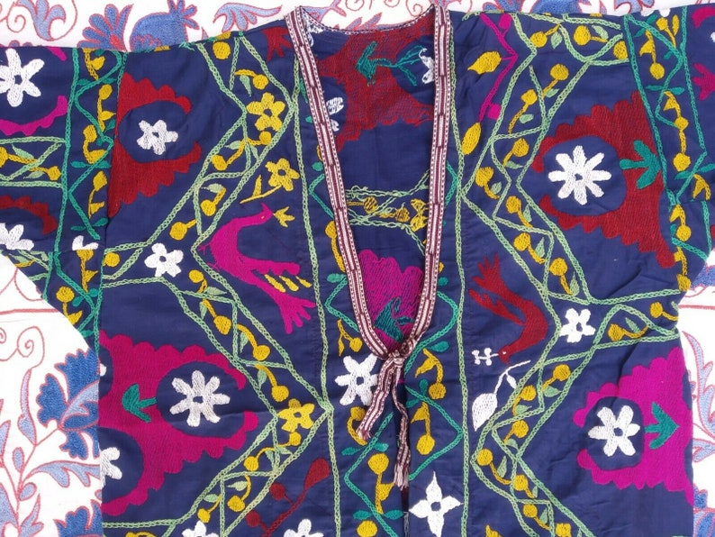 Vintage Rare Embroidery Handmade Uzbek Antique  Suzani Robe Dress Jacket