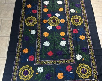Old Uzbek Antique Vintage Original Embroidery Wall Hanging Suzani