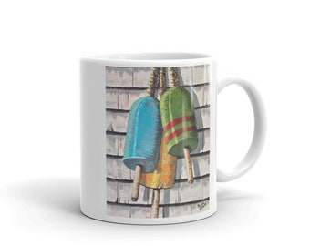 Coffee mug for him, coffee mug for dad, lobster buoys coffee mug, fisherman mug, gift for him, gift for dad, father,s gift by The Nauti Wife