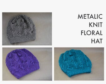Metallic Knit Floral Hat - Three Color Available - Taupe, Purple, Teal -  Birthday Gift, Christmas Gift