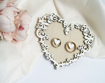 White Heart Wedding Ring Dish Rustic Wood Wedding Ring Holder Lace Ring Bearer Pillow