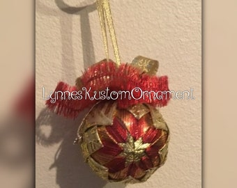 Red and Gold 3 inch quilted ribbon ornament