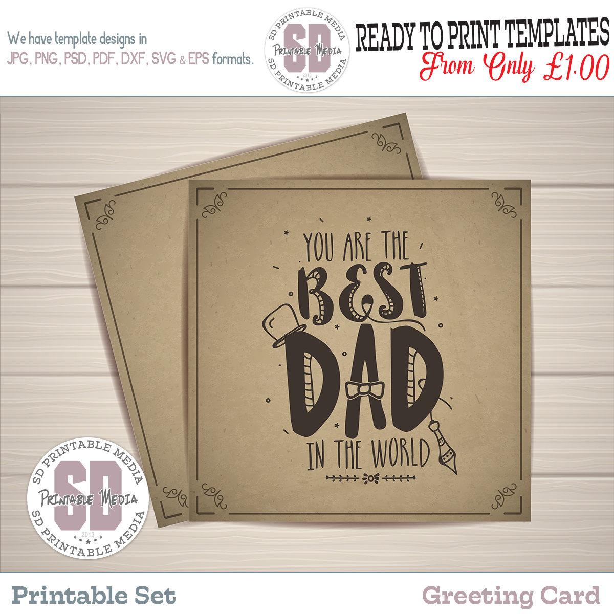 Best Dad Greeting Card Printable Dad Printable Card Etsy