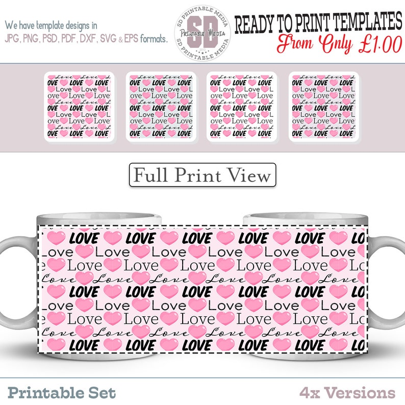 Sublimation Mug Design Ready To Print 4x Colour Love Mug Designs Perfect For Gifts Love Printable Mug Design Templates