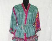 Indian Pure SILK Saree Long kimono Vintage Sari Hippie Womens maxi Dress Bath Robe Gown Dress Sk568