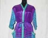 Indian Pure SILK Saree Long kimono Vintage Sari Hippie Womens maxi Dress Bath Robe Gown Dress Sk572