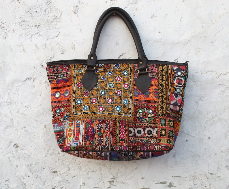 64a224bfbf Large Banjara Bucket bag Tribal Vintage Patchwork shoulder