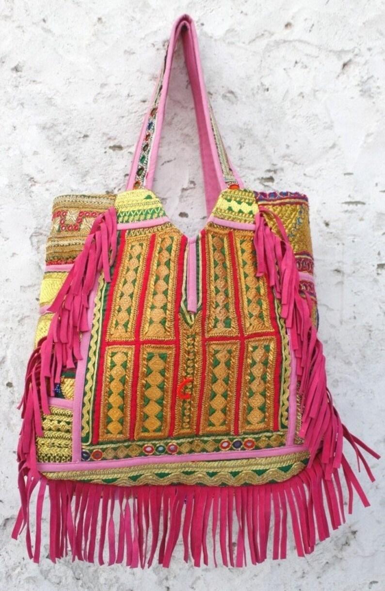 78ec44eef1 Leather friges Banjara bag tribal vintage zari handwork Indian