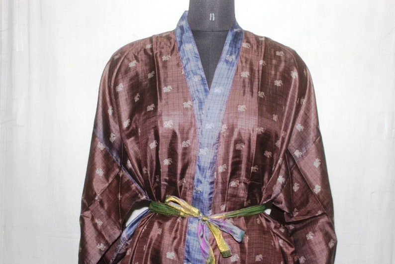 Indian Pure SILK Saree Long kimono Vintage Sari Hippie Womens maxi Dress Bath Robe Gown Dress Sk488