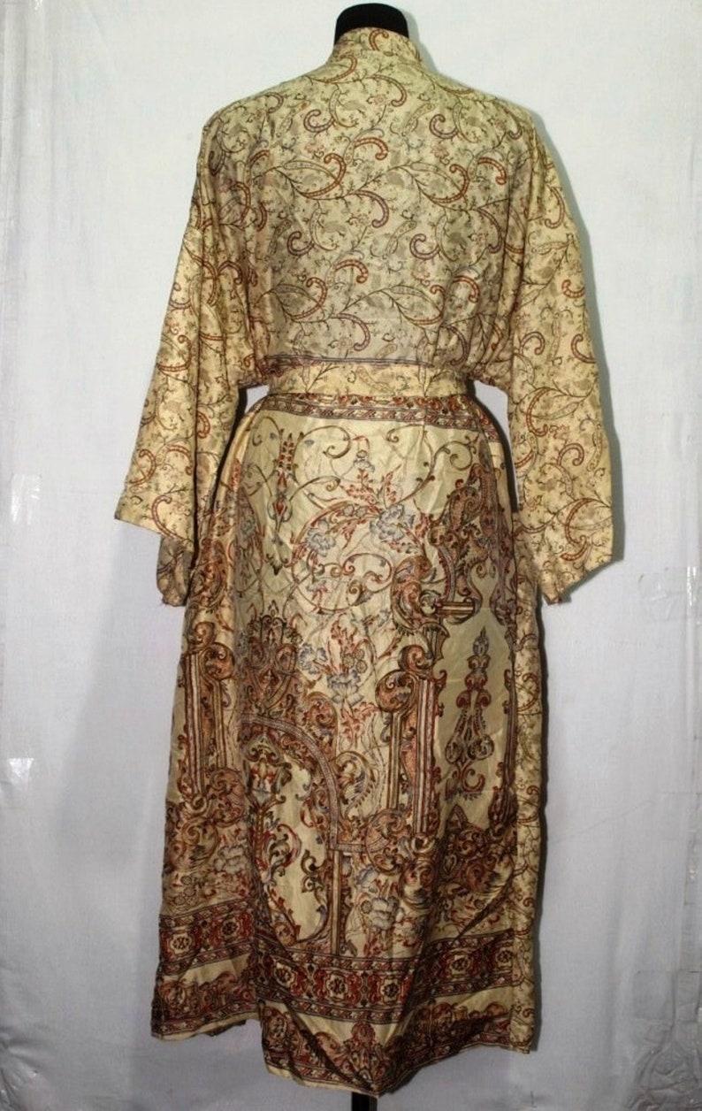 Indian SILK Saree Long kimono Vintage Sari Hippie Womens maxi Dress Bath Robe Gown Dress Sk318