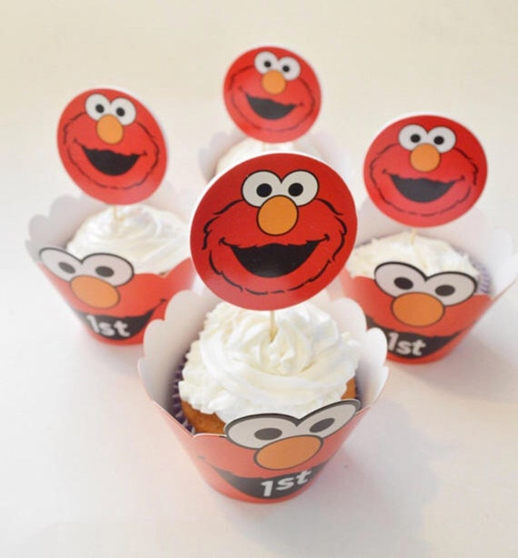 Elmo Sesame Street Cupcake Toppers And Wrappers Birthday Party Theme Red Decorations Dessert Cake Ideas 1st Birthday Personalized Decor Baby