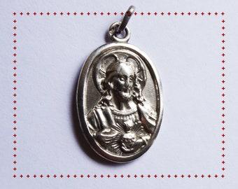Cœur Sacré de Jésus Christ – Médaille Ancienne avec Sainte Mère à l'Enfant Jésus