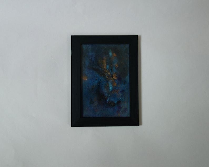 Painting  Aphelion \u2022 Modern Art \u2022 Abstract Art \u2022 Sky Space Art \u2022 Small Mural Frame \u2022 Black Wood \u2022 Wall Blue Painting \u2022 Contemporary Art