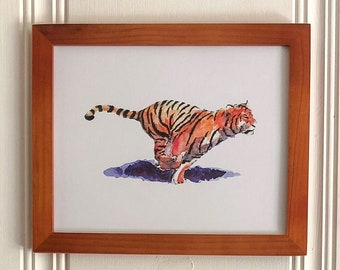 The Tiger, art print 8x10 Animal Watercolor Illustration, home wall decor