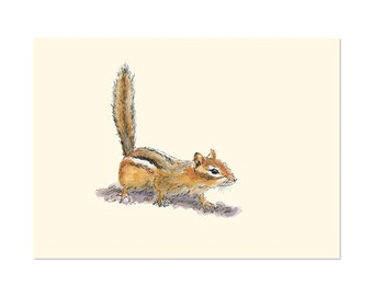 Curious Chipmunk, art gift print 5x7 Animal Watercolor Illustration, home wall decor