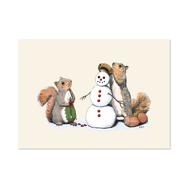 Holiday Trimmings squirrels and snowman art print 5x7 Winter image 0