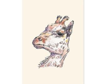 Giraffe art print 5x7 Animal Watercolor Illustration, home wall decor