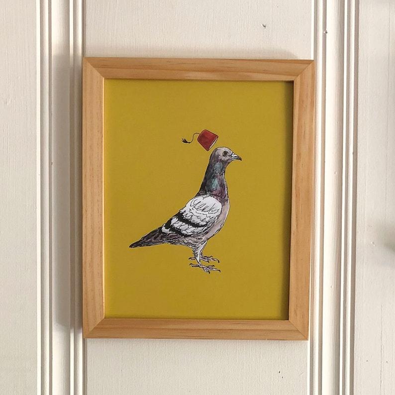Unflappable Pigeon art print 8x10 fez bird Animal Watercolor image 0