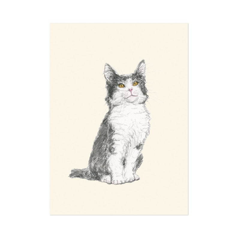 Kitty art print 5x7 Animal Illustration home wall decor image 0