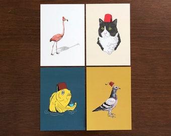 Fez Hat Bundle, 5x7 art prints Animal Illustration, home wall decor