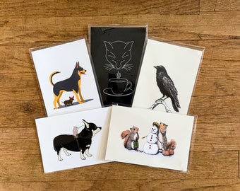 Mystery and Whimsy Postcards, 4x6 Animal Illustration, small prints, postcard set 4
