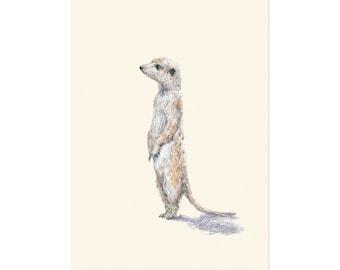 Meerkat, art print 5x7 Animal Illustration, home wall decor