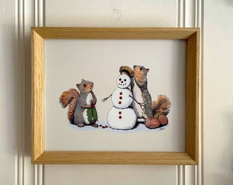 Holiday Trimmings, squirrels and snowman art print 8x10 Animal Animal Drawing, home wall decor