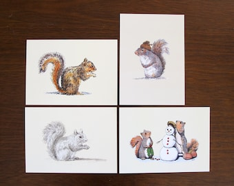 Squirrel Bundle, 5x7 art prints Animal Illustration, home wall decor