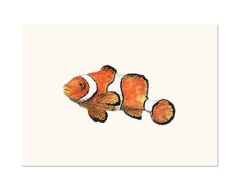 Clownfish, fish art print 5x7 Animal Watercolor Illustration, home wall decor