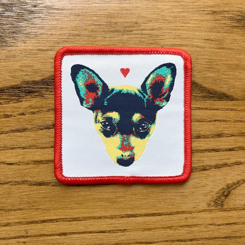 Chihuahua Love Patch  woven iron-on patch cute pet dog image 0