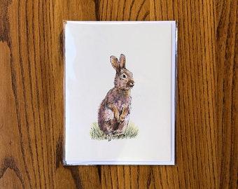Rabbit Card, bunny rabbit art stationery